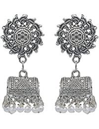 Kiyara Accessories Fashion Jewellery Silver Antique Oxidize Alloy Jhumki With White Pearls For Women And Girls.