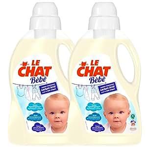 Le Chat Bébé Lessive Liquide Hypoallergénique - 1.5 L Lot de 2 - 50 lavages