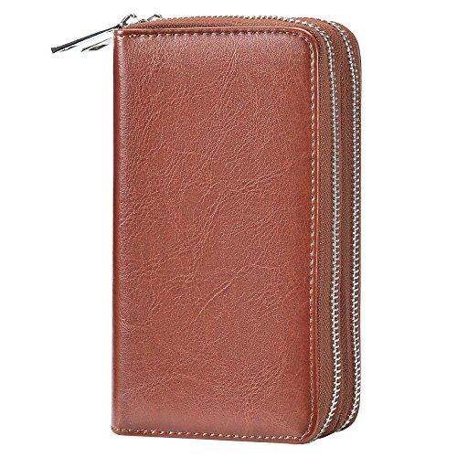 Bangbo PU pochette in pelle con doppia cerniera per carta del telefono borsa portatile per cellulare iPhone 7/7Plus/se/6s/6Plus/5S e Samsung Galaxy S8/8Plus/S7/S6/Xiaomi/LG Black Brown