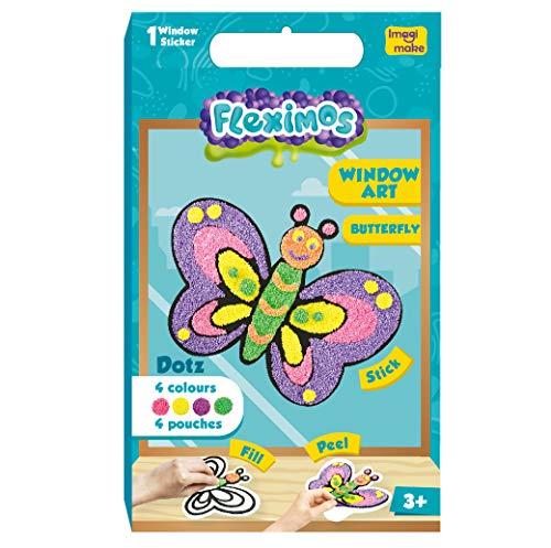 Imagimake Fleximos Butterfly Peel & Stick Window Sticker – DIY Dotz Air Dry Clay Art Set – for Girls and Boys 3 Years+