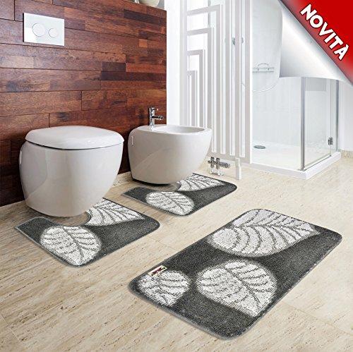Prati di casa tappeto da bagno parure camelia 3pz, made in italy