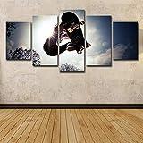 Paintings JFW-HD Gedruckt 5 Stück Leinwand Kunst Skateboard Malerei Sport Wandbilder Für Wohnzimmer Moderne,B,30x45x2+30x60x2+30x76x1