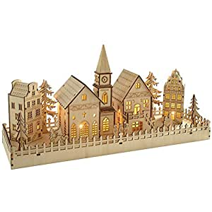 WeRChristmas Scène de village de maison en bois, 45cm