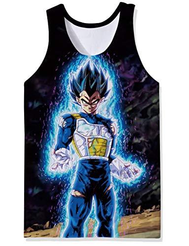 Frau Schläger-tank-shirt (OPCOLV Männer Weste Sport Casual Styles Tanktops Goku & Vegeta Dragon Ball Super Saiyajin Unterhemd Weste Retro Enge Kompression Frau Schläger für Party)