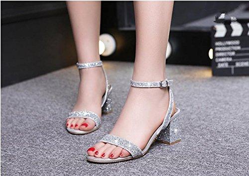 BaiLing Damen Sommer Sandalen / Chunky Ferse / Mode Sequins Damen kleine Größe Schuhe Silver