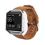 MroTech Correa Fitbit Blaze [Sin Marco], Correa de Reloj de Cuero Genuino Vintage Pulseras de Repuesto Compatible Fitbit Blaze Smartwatch (Marrón)