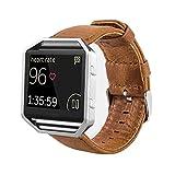 MroTech Armband für Fitbit Blaze Lederarmband, Vintage Echtleder Uhrenarmband Uralt Stil Echtes Leder Uhrenband Ersatzband für Fitbit Blaze Smartwatch - kein Rahmen (Braun)