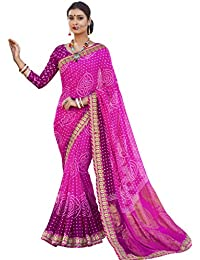 Vastrang Sarees Women's Georgette Saree With Blouse Piece (Chn32412, Pink, Free Size)