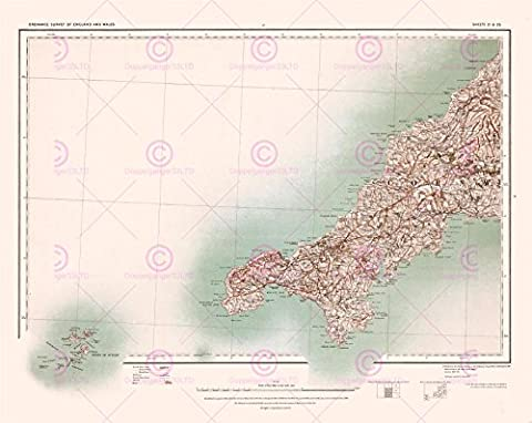 MAP 1902 OS UK CORNWALL SCILLY ISLES LARGE REPLICA POSTER PRINT PAM0398