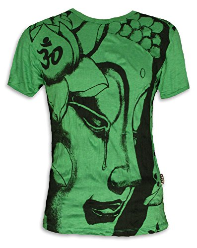 SURE Herren T-Shirt Weinender Buddha Größe M L XL Om Aom Symbol Buddhismus Lotus-Blume Yoga Grün M (Buddha Grünen T-shirt)