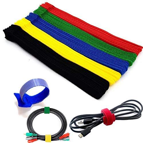 Wohlstand fascette,fascette per cavi riutilizzabili,ideale per sistemare cavi pc, tv, filo organizzatore (multicolore)-50 pezzi