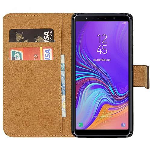 Samsung Galaxy A7 2018 Custodia a Libro Pelle Portafoglio Case Cover per A7 2018 con Slot per Schede e Chiusura Magnetica (Nero)