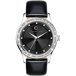 Campione Collections cc-annamaria-nero - Clock, Borrego Black Leather Strap