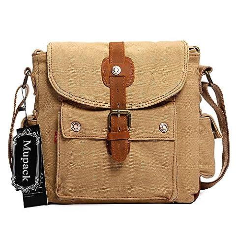 Men's Shoulder Bags Mupack Canvas Vintage Leather Gym Travel Shoulder Bag Satchel Khaki