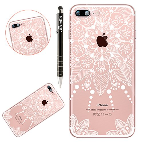 Custodia iPhone 7 Plus, iPhone 8 Plus Cover Silicone Trasparente, SainCat Cover per iPhone 7/8 Plus Custodia Silicone Morbido, Shock-Absorption Custodia Ultra Slim Transparent Silicone Case Ultra Sott Mandala #10