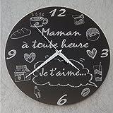 HgMa - Horloge Je t'aime Maman – Cadeau pour la fête des Mères, Noël, Anniversaire, Naissance......