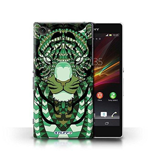 Kobalt® Imprimé Etui / Coque pour Sony Xperia Z1 Compact / Loup-Mono conception / Série Motif Animaux Aztec Tigre-Vert
