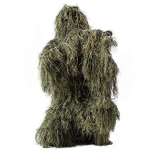 HaoFst Ghillie Anzug Camo Woodland Camouflage Waldjagd 4-teilig + Tasche
