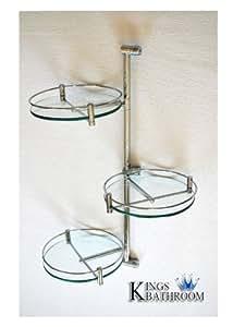 Chrome Triple Tier Wall Mounted Swivel Bathroom Shelf Unit
