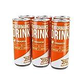 Runtime Performance Drink Orange - volle Power, Energie und Fokus für Arbeit, Sport, Studium und Gaming, mit Koffein und Grüner Tee Extrakt, Energy Drink, 6 x 250 ml Dosen, 6er Palette