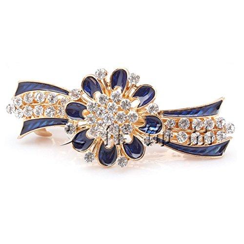 Five Season 1PC Piques et Epingles a Cheveux Diamante Attrayant Forme Fleur pour Femme 8,5 *4,5cm Bleu