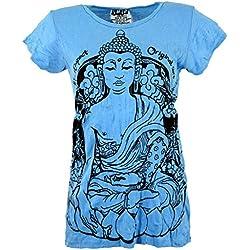 Camiseta Evocación a la meditación. Estampado Buddha, Azul Claro, Algodón, Tamaño:S (36), Camisas Seguras