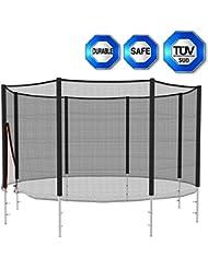 Filet de sécurité pour trampoline 245 305 366 396 426cm (8 10 12 13 14 FT) inclus entrée de fermeture double avec fermeture éclair et boucles (Dimensions à choisir)-- Sans Coussin de Ressorts ,Filet de protection seulement