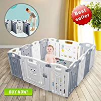 Baby Playpen Kids Activity Centre Safety Play Yard Home Indoor Outdoor New Pen (Folding 12+2panels 155×155×65CM)