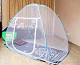 #2: AmazingHind Mosquito Net Single Bed with base which made up of white net, White Polyester Foldable Mosquito Net for Single Bed with Blue Border (Color: White | Size: 190 cm x 120 cm)
