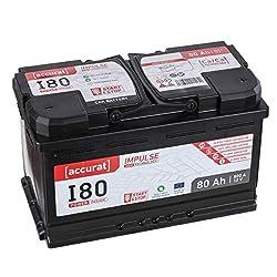 Accurat AGM Autobatterie Starter I80 12V 80Ah 800A effizient und umweltfreundlich für Oberklasse-PKW, Hybrid-Autos und Start-Stop System, wartungsfrei