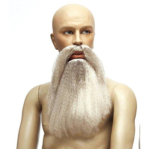 NET TOYS Fasching Bart mit Schnurrbart grau falscher Bart Kunstbart Zwerg Wikinger Vollbart Kunstbart