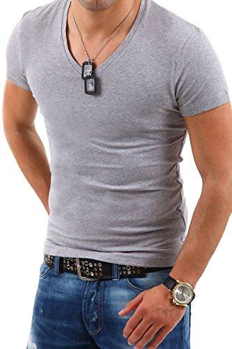 MT Styles Deep V-Neck T-Shirt BS-500 Grau