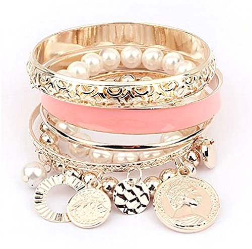 Cinderella Collection By Shining Diva Pearl Coins Charm Bangles Bracelets for Girls and Women