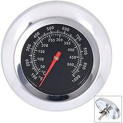 Qiorange Thermomètre pour Barbecue Grille en Acier Inoxydable Outils De Barbecue BBQ Grill Thermometer Temp Gauge 50 à 500 °C, 100 à 1000 ℉ (Type C 500°C)