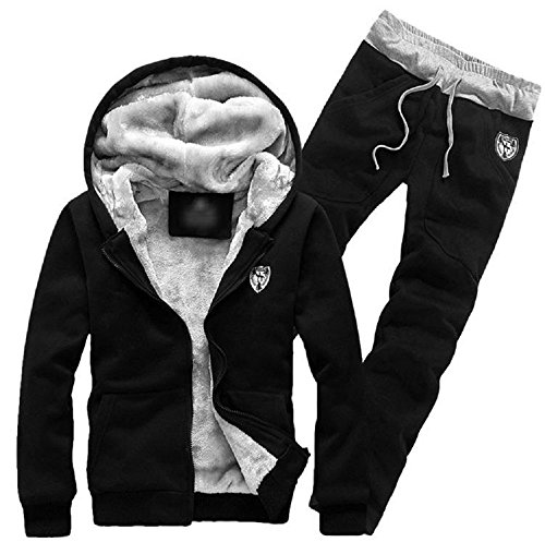 Rera Herren Herbst Winter Warm Set Kapuzenpullover Zip Fleece Hoodie Kapuzenjacke Dicken Mantel mit Fleece Schweißhose Jogginghose Sweathose (Fell-fleece-set)