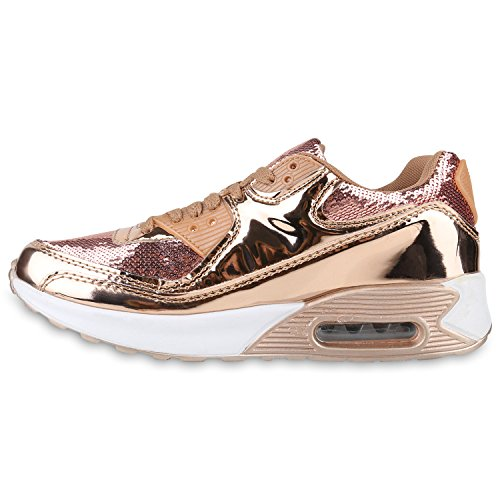 Damen Herren Unisex Sportschuhe Neon Runners Laufschuhe Sneakers Rose Gold Metallic