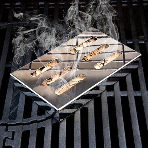51lHxVWdMVL - Blumtal Smoker Räucherbox aus rostfreiem Edelstahl - Gas-Grillzubehör oder Holzkohlegrill, 20x13x3,5cm, Silber