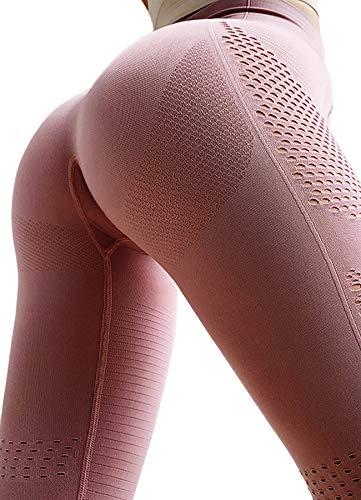 INSTINNCT Damen Yoga Nahtlos Lange Leggings Slim Fit Fitnesshose Sporthosen Stil 3-Rosa S Damen-seamless-capri