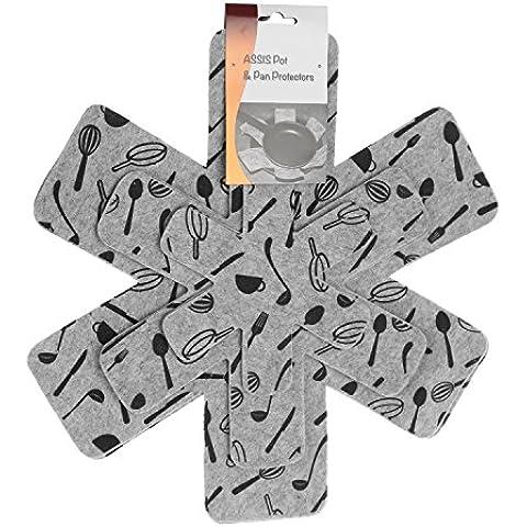 Assis Pot e Pan protectors-set di 6Grigio Stampa Premium divisorio per prevenire graffi, separate di proteggere e superfici–Pentole per casa e camper