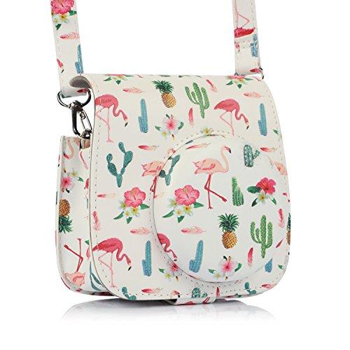 Tophousse Kameratasch für Fujifilm Instax Mini 8/mini 8+/Mini 9 Sofortbildkamera - Premium Kunstleder Schutzhülle Reise Kameratasche (cactus-Flamingo)