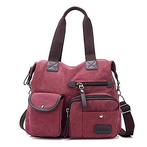 d59e3ff5c7 Sac à main pour femme, Gindoly Multi poches Grand sac à bandoulière fourre  tout Toile Hobo Sacs pour l'école de voyage Shopping et travail (Vin rouge)