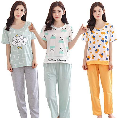 AxssjS 2 Stücke Frauen Feste Pyjamas Sets O Neck Cloud Dot Panda Große Szie Kurzarm Home Anzug 1# XXL - Dot Capri Hose Set