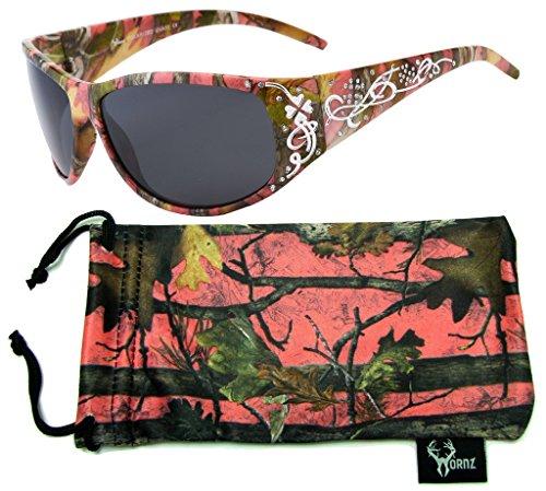 Hornz Rosa Camouflage polarisierten Sonnenbrillen Country Girl Style Camo & freie passende Beutel aus Mikrofaser - Rosa Camo Rahmen - Rauch- Objektiv