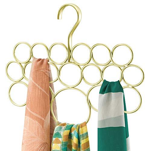 mDesign porte écharpes ? cintre foulard ? rangement foulard pratique pour serviettes, cravates, ceintures ? 18 anneaux ? or/cuivre