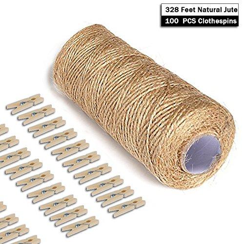 giveet 100M natural yute Twine y 100pcs Mini pinzas de multiusos para artes manualidades Twine Industrial Embalaje Cadena De Servicio Pesado para regalos, DIY Crafts, festivo y aplicaciones de jardinería