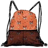 Casual Drawstring Gym Backpack Little Cute Fox Head Pattern Gym Bags Sackpack Knapsack For Unisex Women/Men/Girls/Boys/Kids