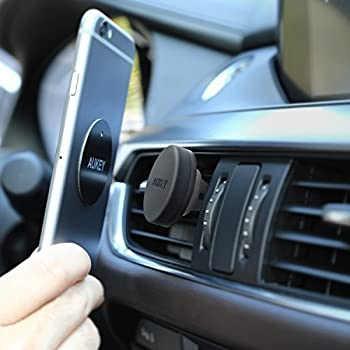 Aukey Car Mount Air Vent Magnetic Phone Holder For Iphone 7 6s 6 5s 5 , Samsung Note 8 S8 , Nexus & Other Android , Windows Smartphones - Grey 2