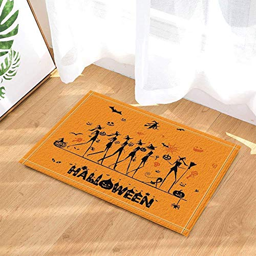 SHULI888 Halloween Bild Gelber Hintergrund Schwarz Charakter Charakter Kürbis Horror SkullBathroom Anti-Rutsch-Matte Türmatte Anti-Rutsch-Boden Indoor-Eingang Pad Kinder 40X60CM