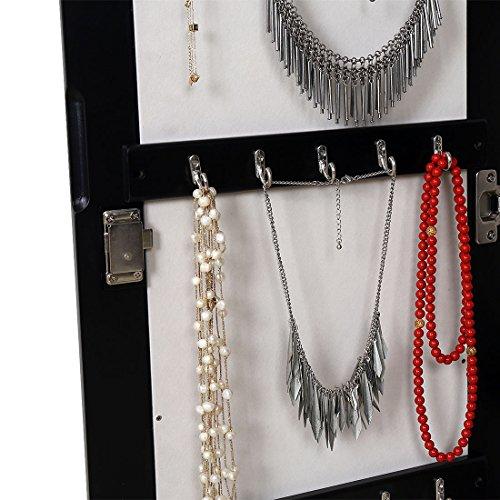 HLC Klassische Wandmontage Schmuckschrank Schminkschrank Schmuck Spiegelschrank Schmuckkasten mit Wandspiegel aus Holz - 9