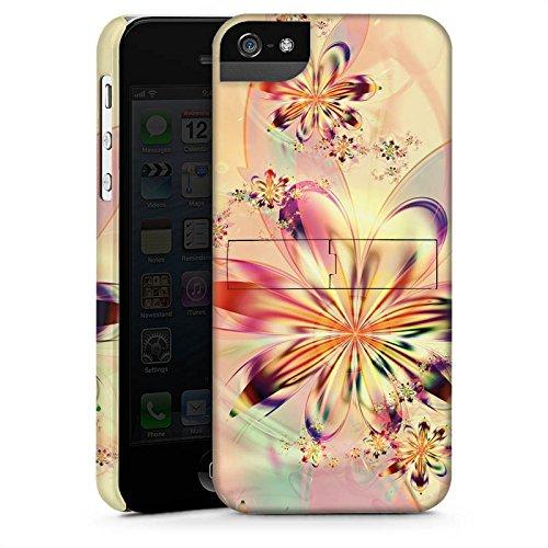 Apple iPhone 5 Housse étui coque protection Fleurs Fleurs Motif CasStandup blanc